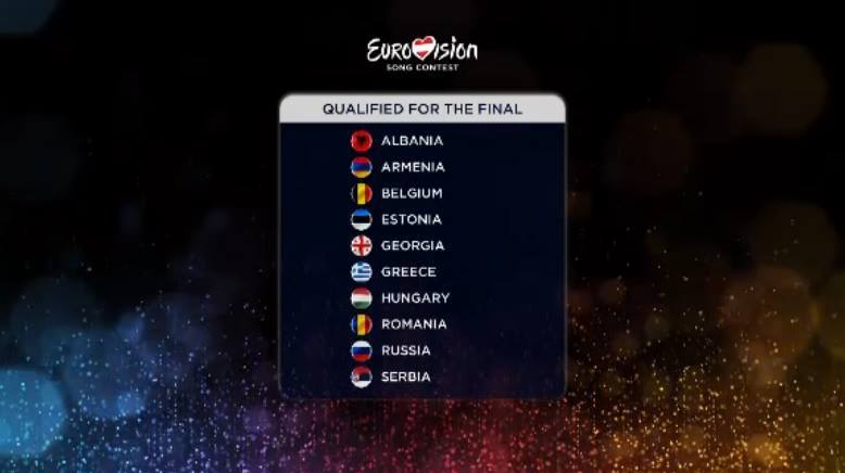 SEMI FINAL 1 : The first 10 finalists of Eurovision 2015.