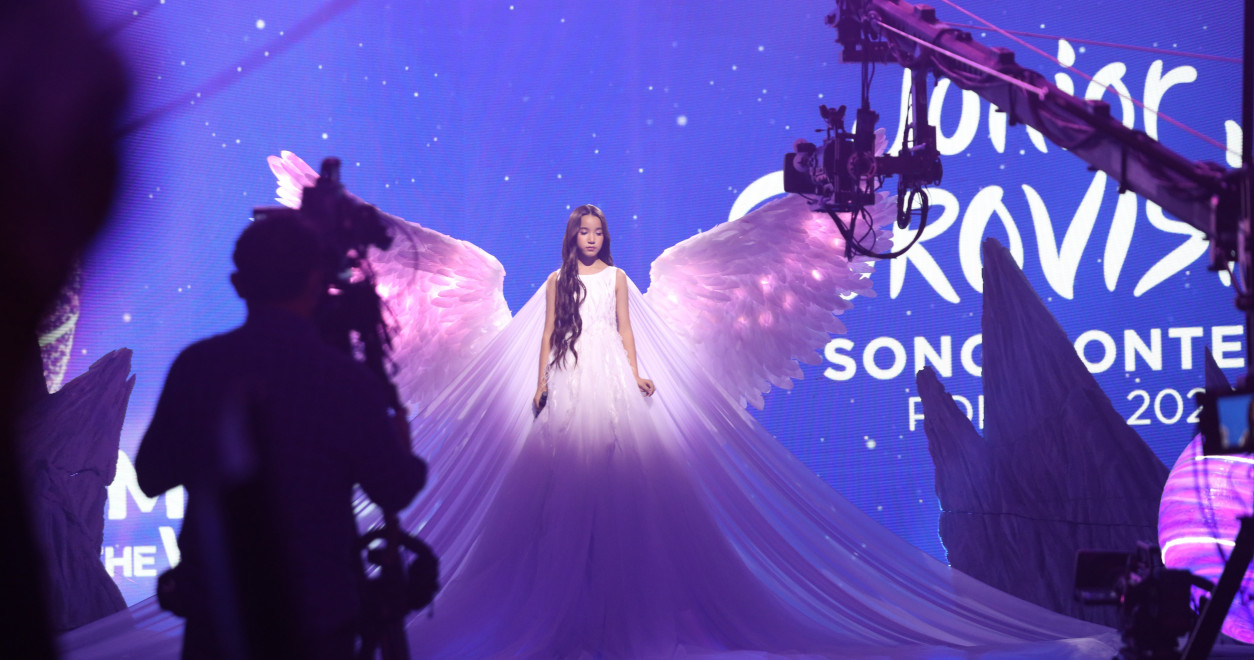"JESC 2020 first shots: Kazakhstan's Karakat Bashanova records the performance of her JESC entry ""Forever"""
